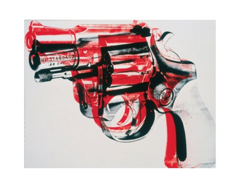 "I'm not a huge Andy Warhol fan, nor am I a gun nut...but for some reason this one has always spoken to me.  ""Gun, c.1981-82 (black and red on white)"""