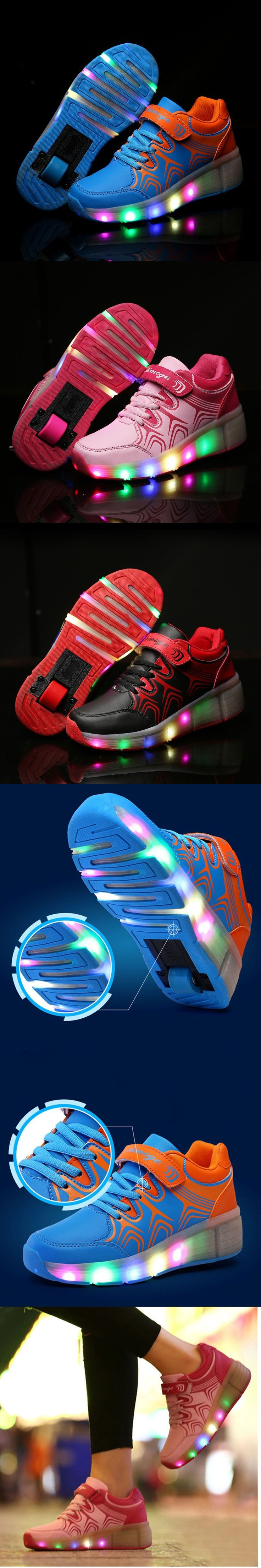 Adult Heelys Children Roller Shoes With Wheel Boy Girl LED Lighted Flashing Roller Skates Kids Sneakers Zapatillas Con Ruedas