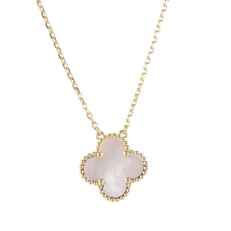This is an authentic pair of VAN CLEEF & ARPELS 18K Yellow Gold Mother of Pearl Vintage Alhambra Pendant Necklace. This stunning necklace chainis crafted of18 karat yellowgold. The pendant is in the shape of a small 14.9mm clover with a yellow gold trim and set withmother of pearl.  This is anexquisite necklace with the classical elegance of Van Cleef & Arpels!