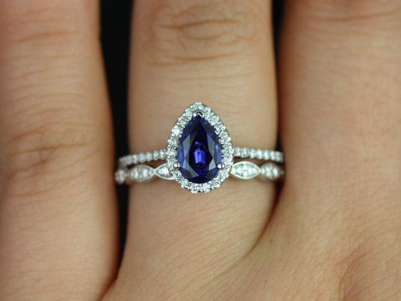Tabitha & Christie 14kt White Gold Pear Blue Sapphire and Diamonds Halo Wedding Set (Other metals and stone options available)