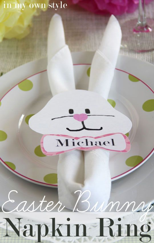 """Easter Table Setting - """"Bunny Ears"""" is my go-to napkin fold. I usually place them in the stemmed glasses on the table, but since it is Easter, I decided to have some fun and made bunny face napkin rings to go over the rolled napkins."""