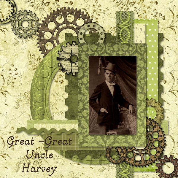 Great-Great Uncle Harvey...an unusual lime green color palette and intricate background of gears gives this page a funky steampunk look that's both masculine and whimsical.