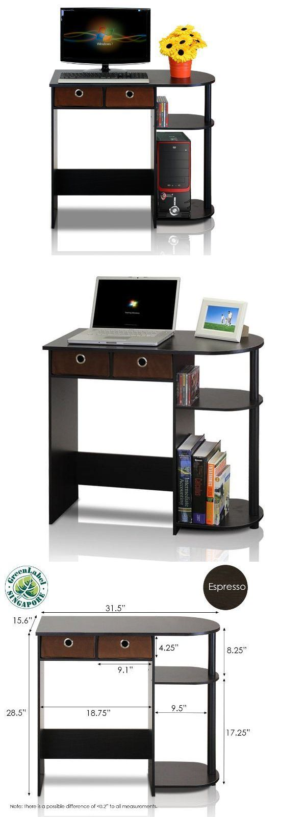 Desks and Home Office Furniture 88057: Computer Desks For Cheap Small Fabric Drawers Shelves Black Brown Student Laptop -> BUY IT NOW ONLY: $69.08 on eBay!
