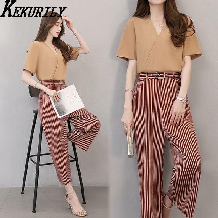 Pants suits women elegant two piece set tuice chiffon suits kits for feminine loose plus size large crop top and pants set #Affiliate