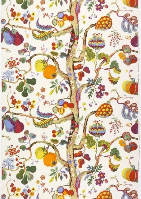 Textile: Vegetable Tree. Designed by Josef Frank. Sweden, 1944. Gift of Svenkst Tenn, 1982-60-1