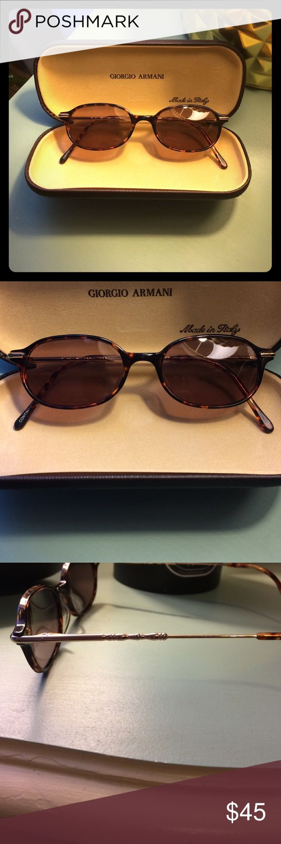 Giorgio Armani Sunglasses Authentic Giorgio Armani Sunglasses-Cute Tortoise and Gold Frames- Authentic- Purchased From a Eye Care Center But Does Not Have Prescription Lenses- Outside of Case Is Not Perfect But Glasses Are! No Scratches Giorgio Armani Accessories Sunglasses