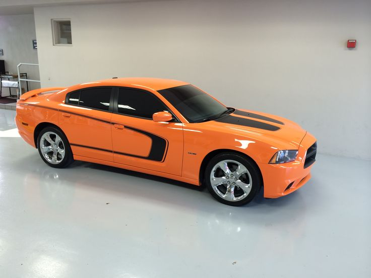 My charger all finished with new pin striping. Hot Orange 2014 Dodge Charger RT Hemi