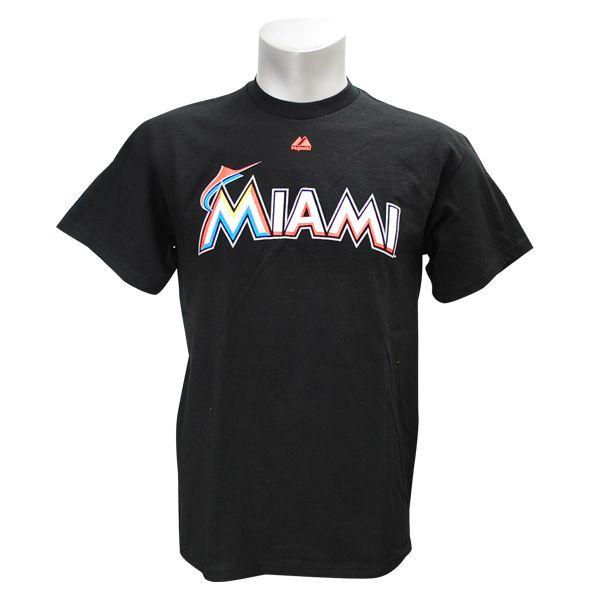【予約】MLBマイアミ・マーリンズWordmarkTシャツ(ブラック)Majestic