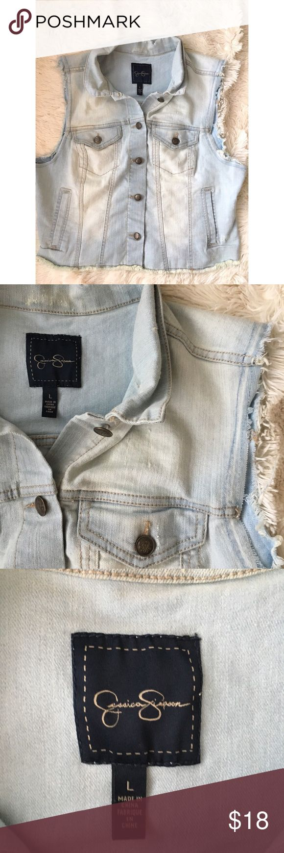 "Jessica Simpson Denim Vest Super cute Jessica Simpson Denim Vest. Lightweight and distressed denim make this great for any season!  Very gently used & good condition.   Size large // Bust 18"" // length 19"" Jessica Simpson Jackets & Coats Vests"