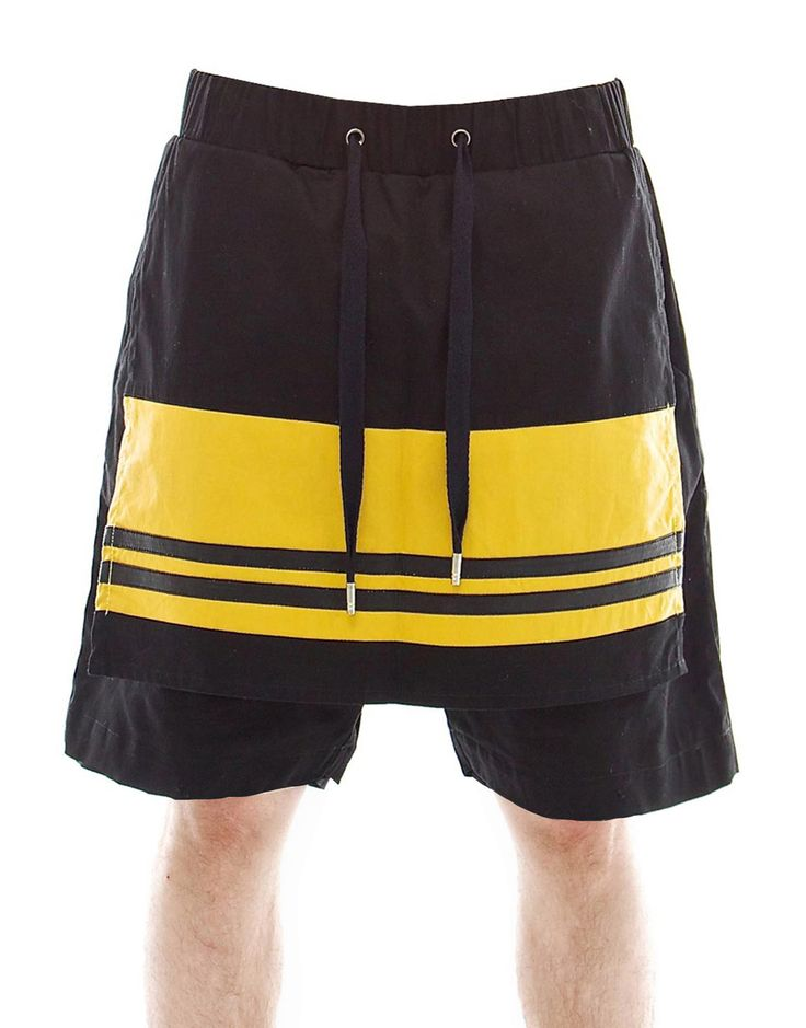 SKINGRAFT Panel Shorts in Black/Yellow