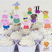 24 шт. прекрасный папа свинья ботворезы выбирает кекс топпер душа ребенка поставки ребенок рождения детей ну вечеринку торт выпечки ну вечеринку украшения день рождения(China (Mainland))