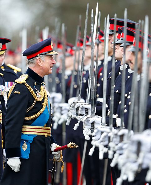 Prince Charles, Prince of Wales inspects the Officer Cadets as he represents Queen Elizabeth II during the Sovereign's Parade at the Royal Military Academy Sandhurst on December 11, 2015 in Camberley, England.