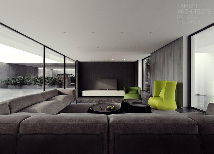 Superb Moderne Innenarchitektur   Minimalistisch Wohnzimmer Fensterwaende Glaswaende Garage Couch Cz