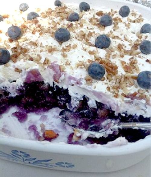 Blueberry Jello salad mixed with pineapple and blueberry pie filling is a classic JELL-O dish from the 60's that is popular in the Southern states.
