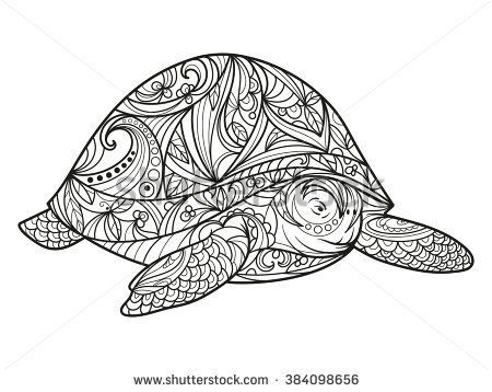 Turtle coloring book for adults vector illustration. Anti-stress coloring for adult. Zentangle style. Black and white lines. Lace pattern - stock vector