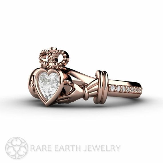 Claddagh Ring White Sapphire Engagement Ring Irish
