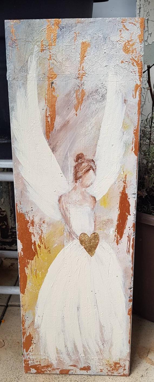 Dy Art Engel Auf Holz Gemalt In 2020 Malen Acrylfarbe Auf Holz