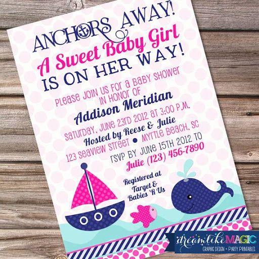 Printable Baby Shower Invitation- Nautical Sweet Baby Girl Design?