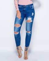 Mid Wash Distressed Ripped Skinny Jeans