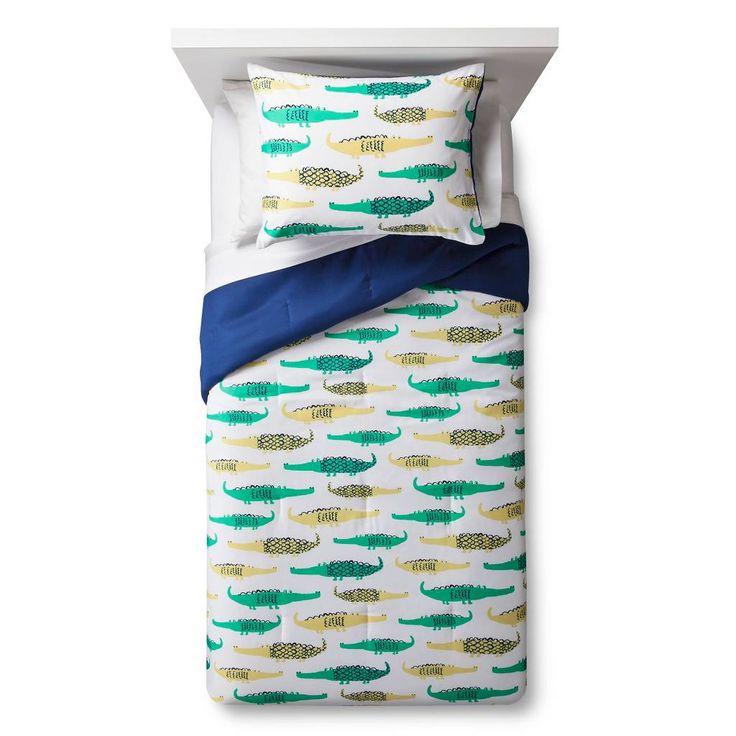 Crocodile Crossing Comforter Set - White(Twin) - Pillowfort™. Image 1 of 2.