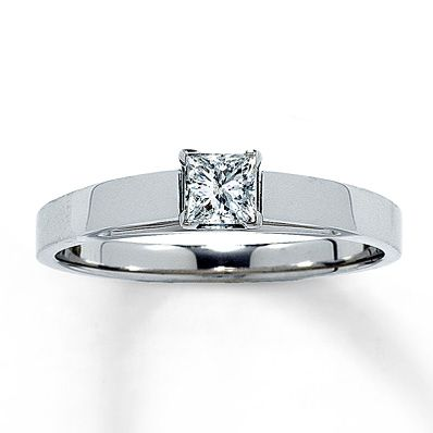 Diamond Solitaire Ring 1/4 carat Princess-Cut  14K White Gold