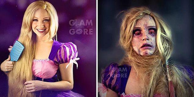 Рапунцель до и после того, как запуталась в своих волосах