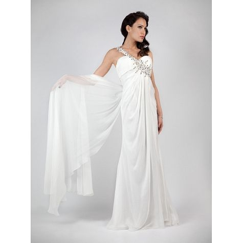 Long one shoulder wedding dress with tail beading