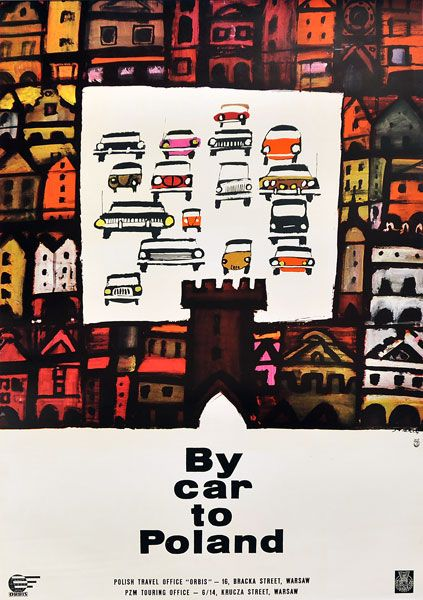 By car to Poland by WALDEMAR ŚWIERZ 1964 #tourism #poster