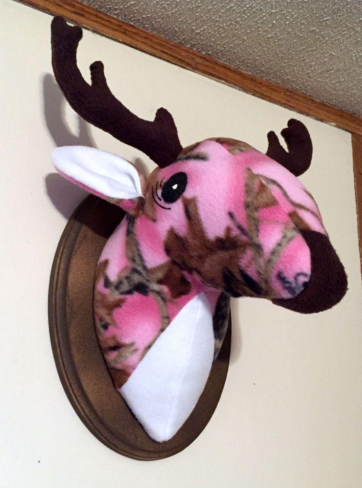 Pink Camouflage deer head / stuffed deer head / Christmas Gifts by GrammaInABox on Etsy