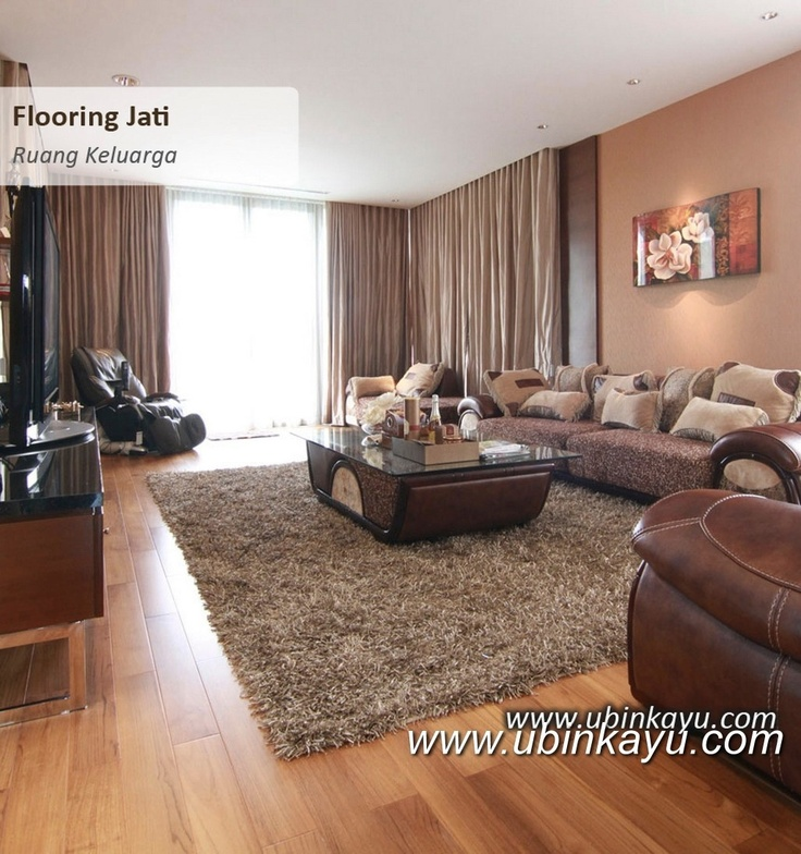 Teak flooring on living room