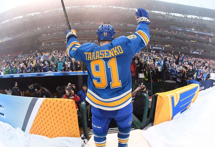 Blues vs. Blackhawks - 01/02/2017 - St Louis Blues - Photo Galleries Vladimir Tarasenko #91 of the St. Louis Blues salutes fans after beating the Chicago Blackhawks 4-1