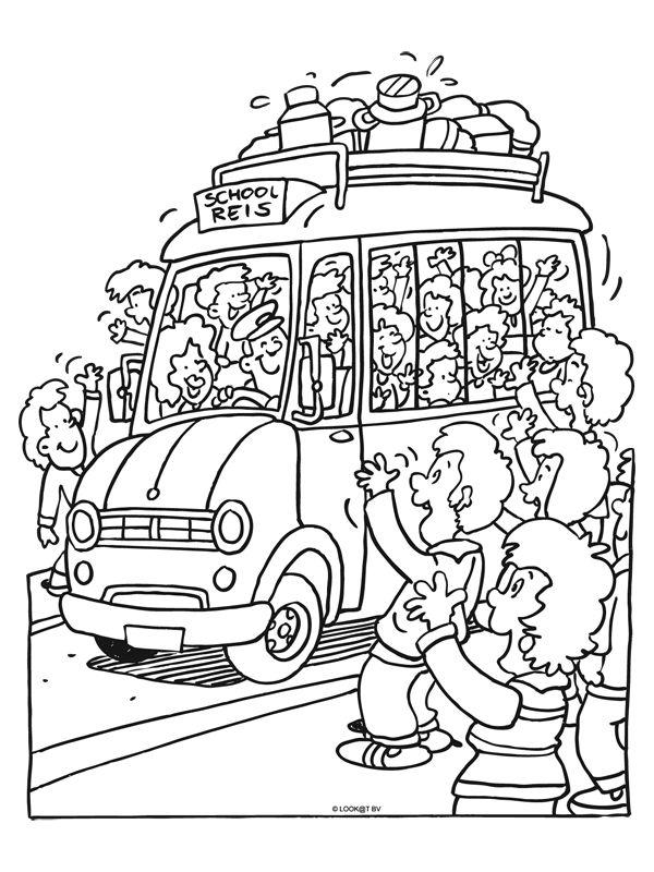 Kleurplaat Bus Schoolreis Kleurplaat Bus Vertrekt Voor Schoolreis Kleurplaten Nl