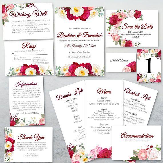 Pink Peony Pop Wedding Stationary Invitations Set PRINTABLE