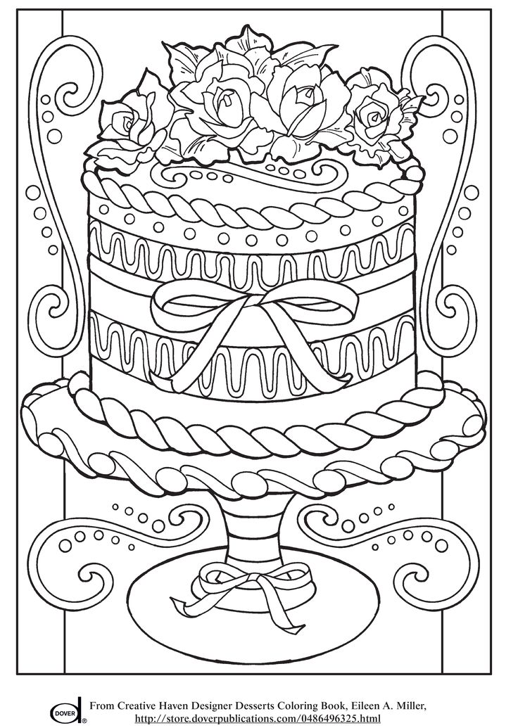 Free Printable Adult Coloring Pages - Wedding Cake