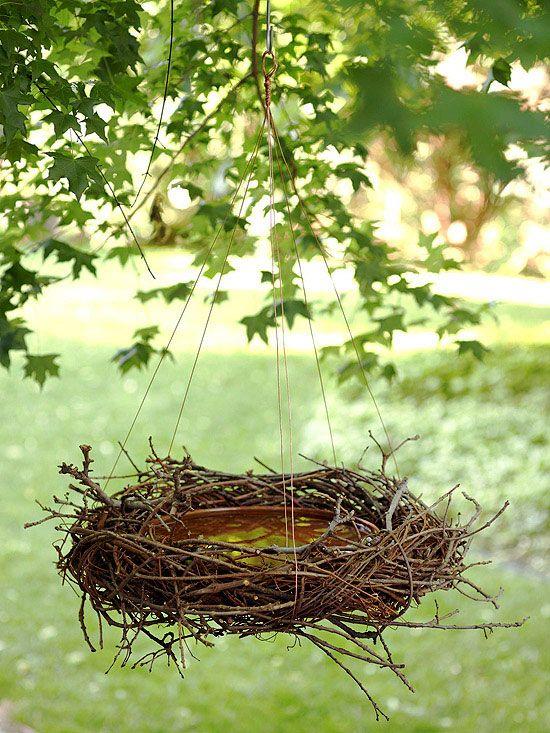DIY - bird bath using shallow ceramic bowl, grapevine wreath, copper wire