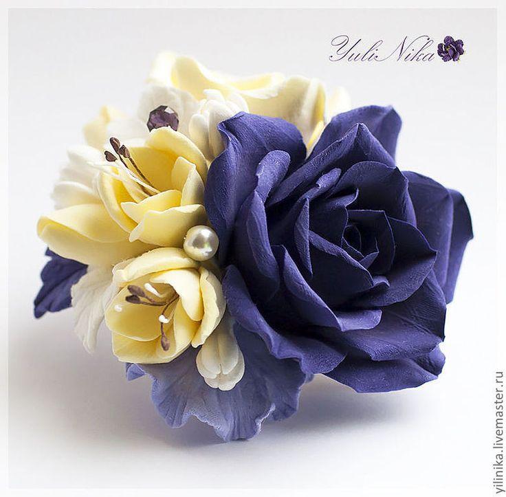 """Купить Брошь """"На модной волне"""" - тёмно-фиолетовый, желтый, ваниль, брошь, полимерная глина"""