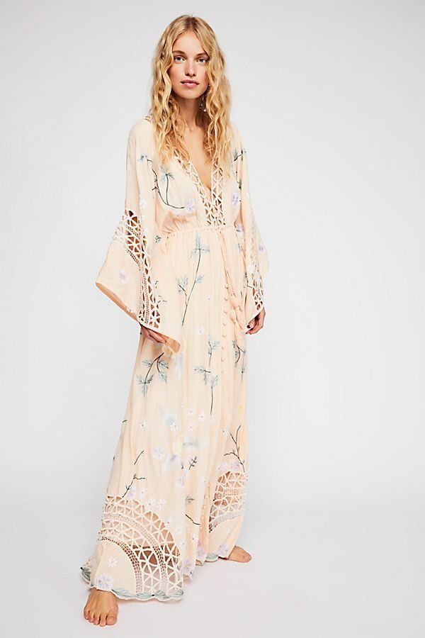 4458bfb20e1 I Am Lola Embroidered Maxi Dress - Light Peach Floral Long Sleeve Maxi Dress  with Crochet Cut Outs - Boho Maxi Dresses - Beautiful Maxi Dresses - Free  ...