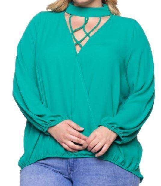 Green Blouse with Cage Neck Choker - CURVY