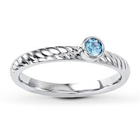 0.11 Ct Blue Topaz Stackable Solitaire Ring 925 Silver December Birthstone by JewelryHub on Opensky