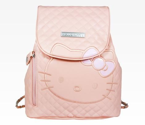 "Hello Kitty Mini Backpack: Warm Pink Quilt 1 outside zipper pocket and 1 inside zipper pocket. Details include a zippered charm and printed lining.  Specifications:  - 12.50""H x 11""W 4.75""D- PVC leather  $60"