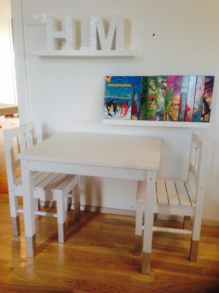Chrome Dipped Children's Table / Chairs . SVALA IKEA RIBBA bookshelf