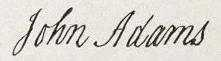 The signature of John Adams, taken from the Declaration of Independence.