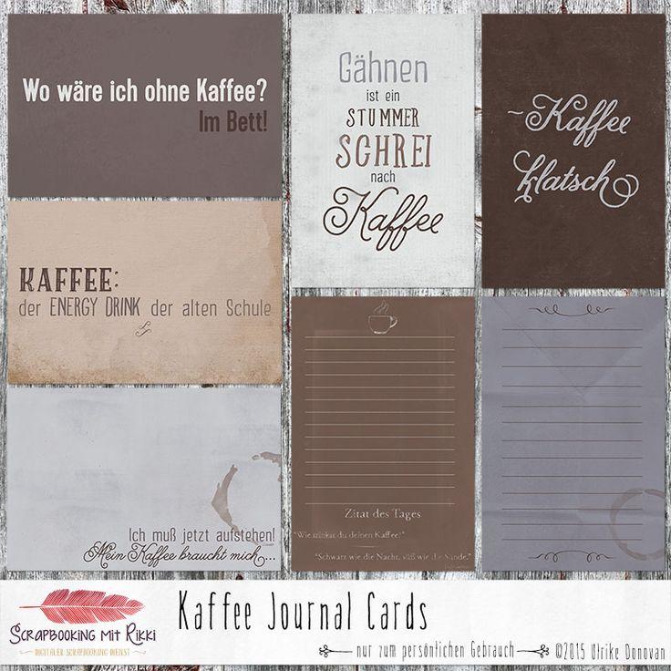 Simple Deutschsprachige Journaling Karten zum Thema Kaffee