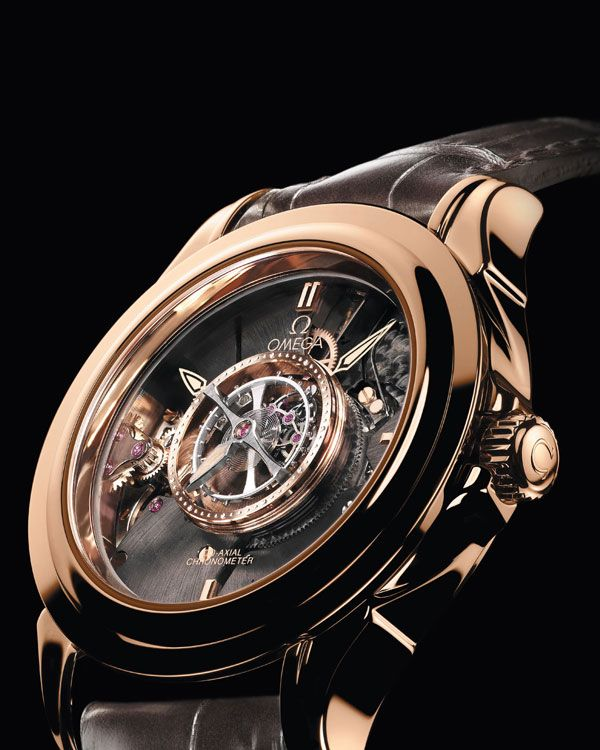 OMEGA Watches: De Ville Tourbillon - Red gold on leather strap