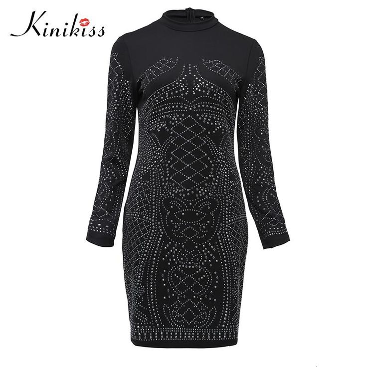 Spring long sleeve women dress short black diamond club dress sexy women party dress fashion white  #fashion #dress #hautecouture #haute #happiness #fun #fashionlover #couturier #cute #fashionday