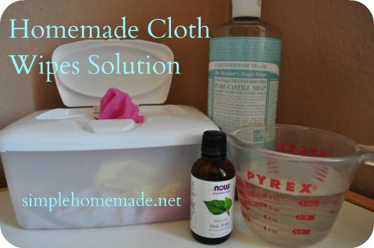 Using cloth wipes and homemade wipes solution    Consider using baby washcloths as wipes.    Homemade Cloth Wipes Solution    1 Tsp.* of Baby-mild Castile Soap  5-7 drops Tea Tree Oil and/or Lavender Oil  1 cup water  Combine the ingredients, either in a small bowl or a spray bottle.