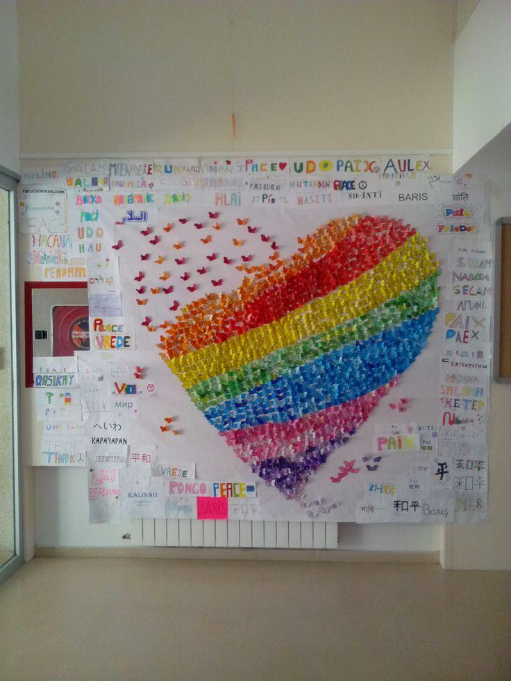 Mural escolar Del CEIP Miguel de Cervantes,día de la paz