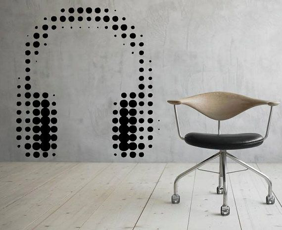 Headphones Wall Decal Music Vinyl Decal Sticker Murals Interior Recording Night Club Decor (43za7he)