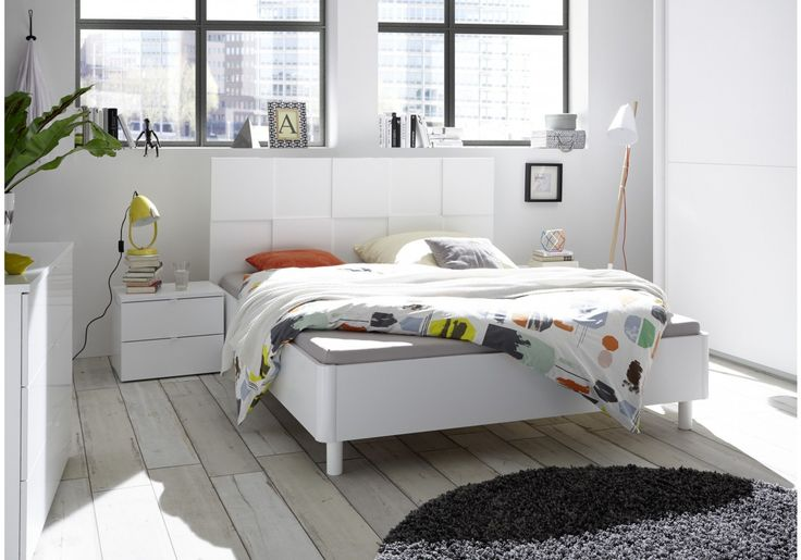 Bett 180 x 200 cm weiss matt Lack mit 3D-Optik Woody 12-01445