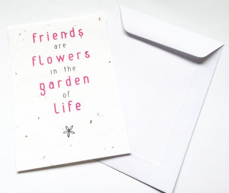 Bloeikaart Friends Stuur een bosje bloemen op per post! In de kaart zijn veldbloemzaadjes verwerkt. Bedek met een dun laagje aarde en houd dit vochtig tot de zaadjes beginnen te kiemen. En voor je het weet kun je genieten van een vrolijk gekleurde blo - € 1,95